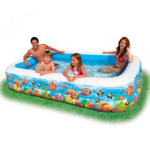 Большой надувной семейный бассейн Intex 58485 Тропический риф. 305*183