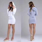 Стильный прогулочный костюм юбка и кофта с капюшоном (40-46рр)