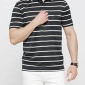 Мужское поло LC Waikiki насыщенно-черного цвета в белые полоски