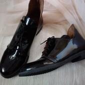 Туфли натуральный лак/кожа размер 39/40