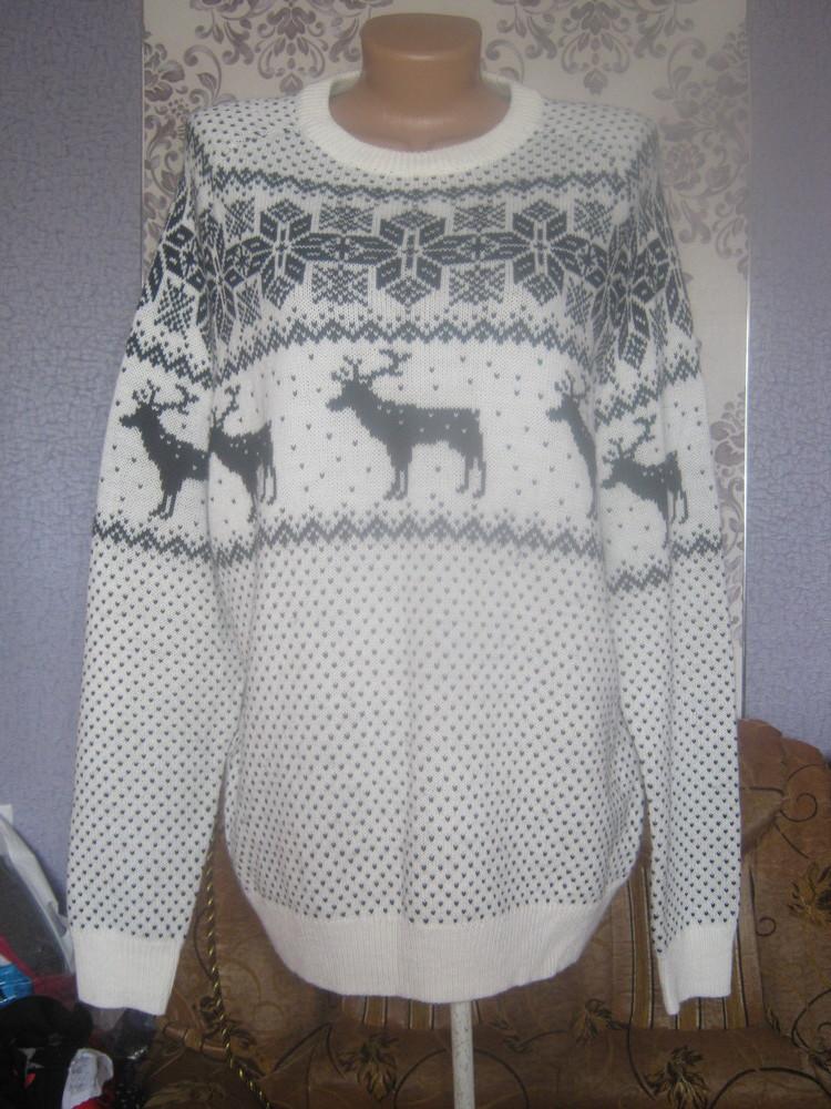 Кофта новорічна молочна з чорною вишивкою,розмір XL фото №1