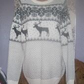 Кофта новорічна молочна з чорною вишивкою,розмір XL