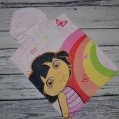 Фирменное детское полотенце пончо махровое с капюшоном Даша Путешественница Dora