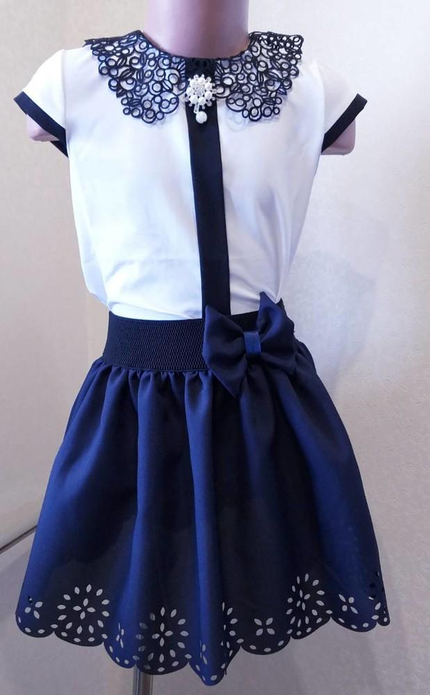 Школьная блузка перфорация от производителя 122-152 фото №1
