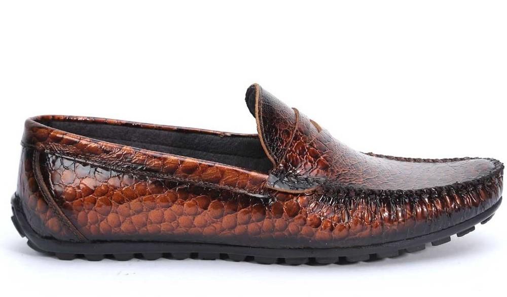 Коричневые мокасины «крокодиловая кожа» bfg moda.shoes- 006. фирменная турция фото №1