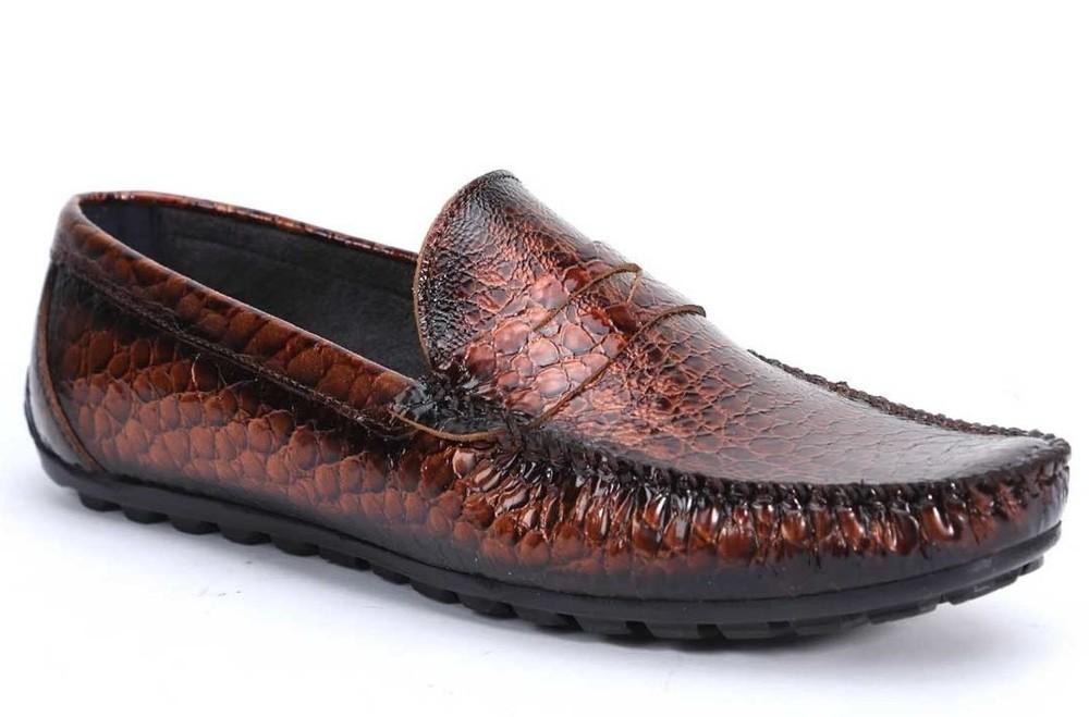 Коричневые мокасины «крокодиловая кожа» bfg moda.shoes- 006. фирменная турция фото №2