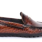 Коричневые мокасины «крокодиловая кожа» BFG Moda.shoes- 006. фирменная Турция