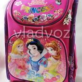 Школьный каркасный рюкзак для девочек малиновый принцессы 3535-4