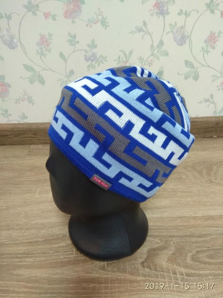 Вязаная шапка для мальчиков 48-54 размер фото №1