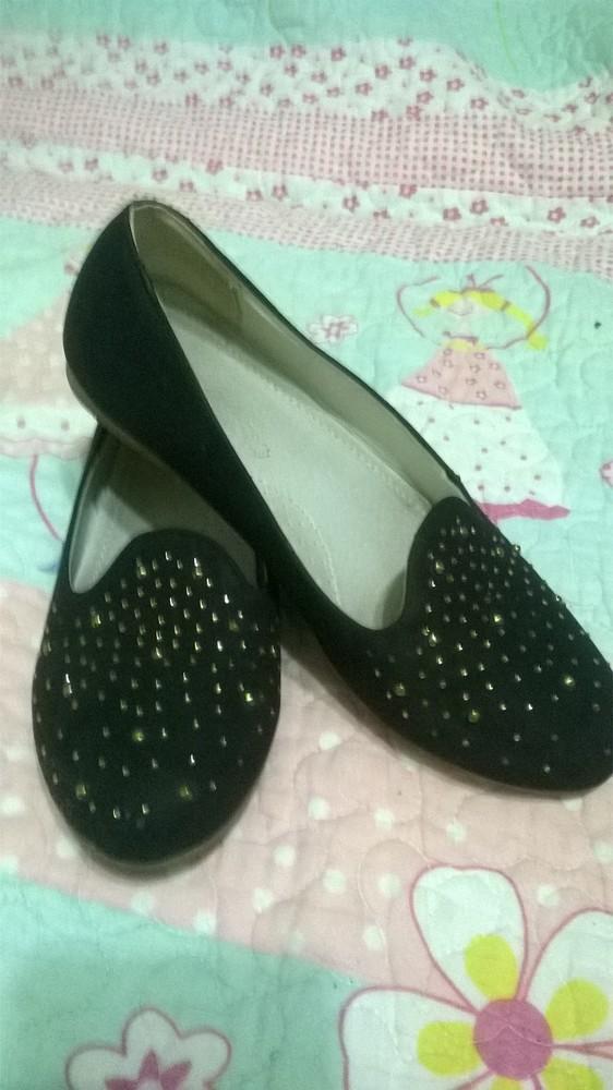 Туфли - балетки для девочки черные школьные нубук, размер 35 фото №1