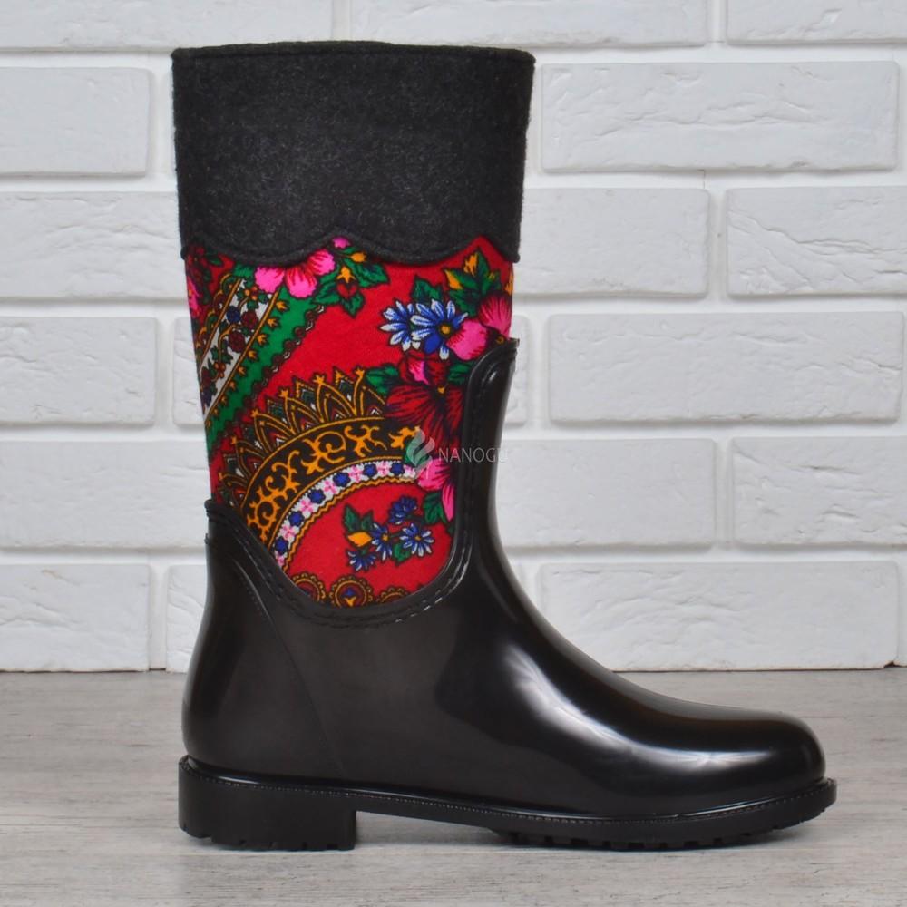 Резиновые сапоги chale войлочные с платком с утеплителем женские высокие черные фото №2