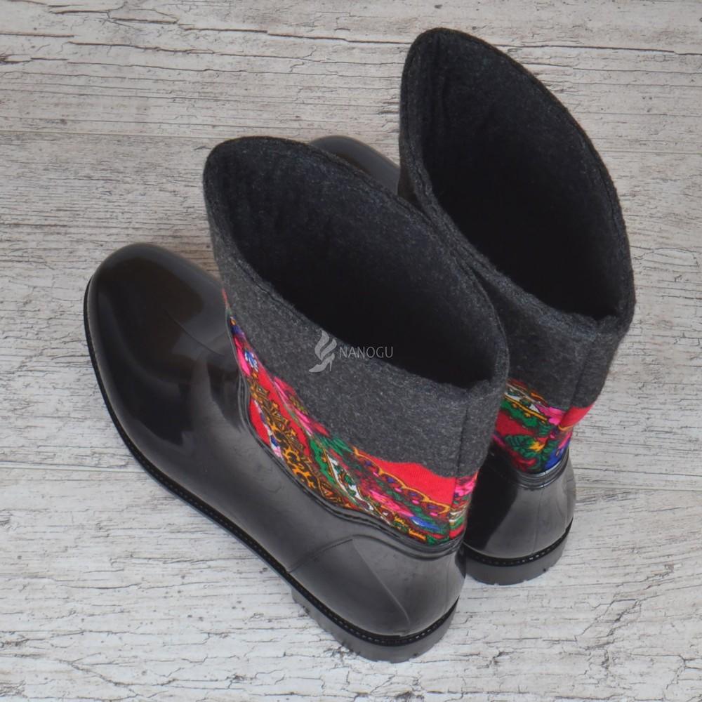 Резиновые сапоги chale войлочные с платком с утеплителем женские высокие черные фото №3