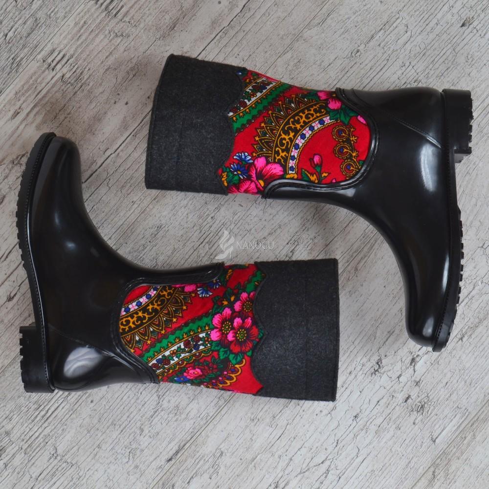 Резиновые сапоги chale войлочные с платком с утеплителем женские высокие черные фото №4