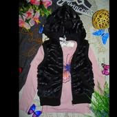 8-9лет.Гламурный меховой жилет с ушками Y.D.Мега выбор обуви и одежды
