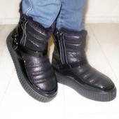 Ботинки женские зимние. Цвет черный, на змейке. Р.36-41.