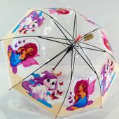 Детский прозрачный зонтик зонт трость для девочки Пони, Единорог 4-7 л