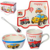 Комплект керамической детской посуды Тачки 3