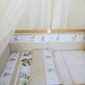 Бортики высокие с чехлами на молнии и постелька в детскую кроватку. Organic cotton -