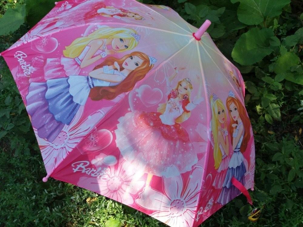 Красивенный детский зонт барби для девочки 5-8 лет круглая хорошая спица фото №1
