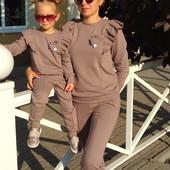 Спортивный Прогулочный костюм для мамы и дочки Family Look Фемили Лук