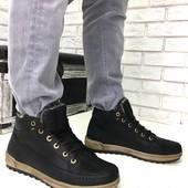 Натуральные кожаные зимние мужские ботинки на меху, код ех-2004