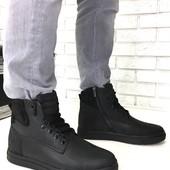 Натуральные кожаные зимние мужские ботинки на меху, код ех-2006