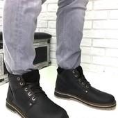 Натуральные кожаные зимние мужские ботинки на меху, код ех-2007-1