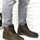 Натуральные кожаные зимние мужские ботинки на меху, код ех-2009