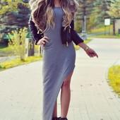 Длинное платье с боковым разрезом навскос