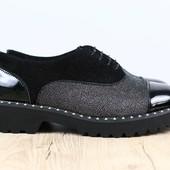 Женские туфли на шнурках из натуральной кожи, код ks-3178-1