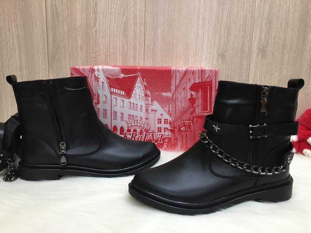 Демисезонные женские кожаные ботинки фото №1