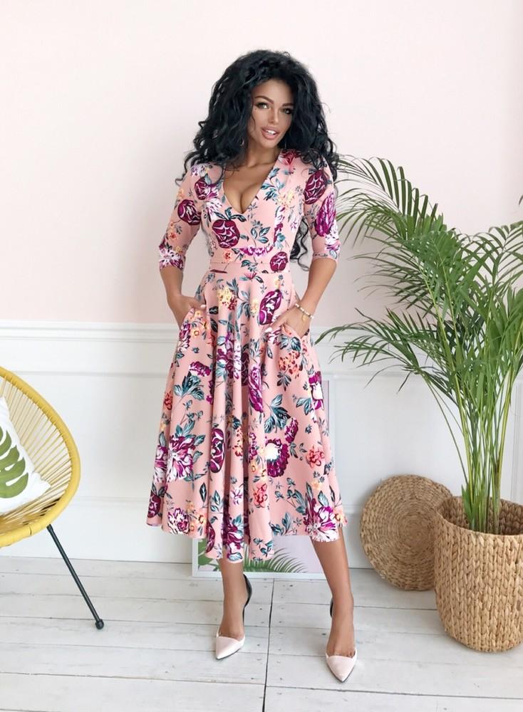 de24767ee4ea1c3 Платье женское миди цветочный принт в расцветках размер 42-54 ст09 фото №1