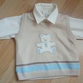 """Наборчик """"M&Co"""" из жилета и рубашки на 6-9 месяцев и 9 кг.Хлопок. В идеальном состоянии."""