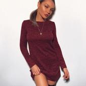Теплое платье мини, 3 цвета