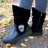 Зимние женские ботинки, натуральная кожа и замша