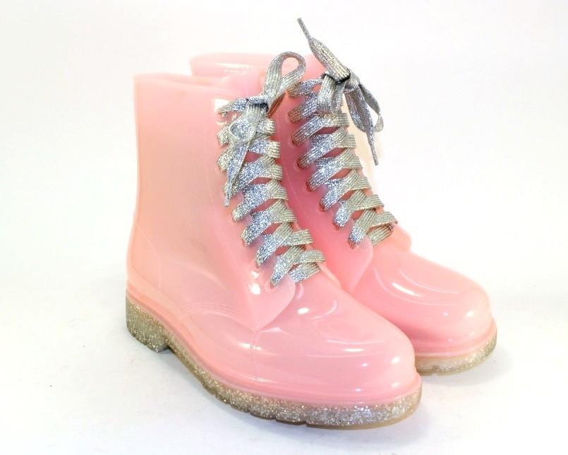 Розовые силиконовые ботинки фото №1