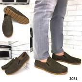 3 цвета Новинка мужские кожаные/замшевые мокасины код 2031