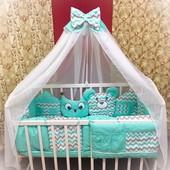 Постельные комплекты в детскую кроватку! Разные расцветки!