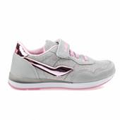 Кроссовки детские сетка с блестками серо-розовые