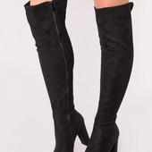 Женские демисезонные сапоги ботфорты на каблуке