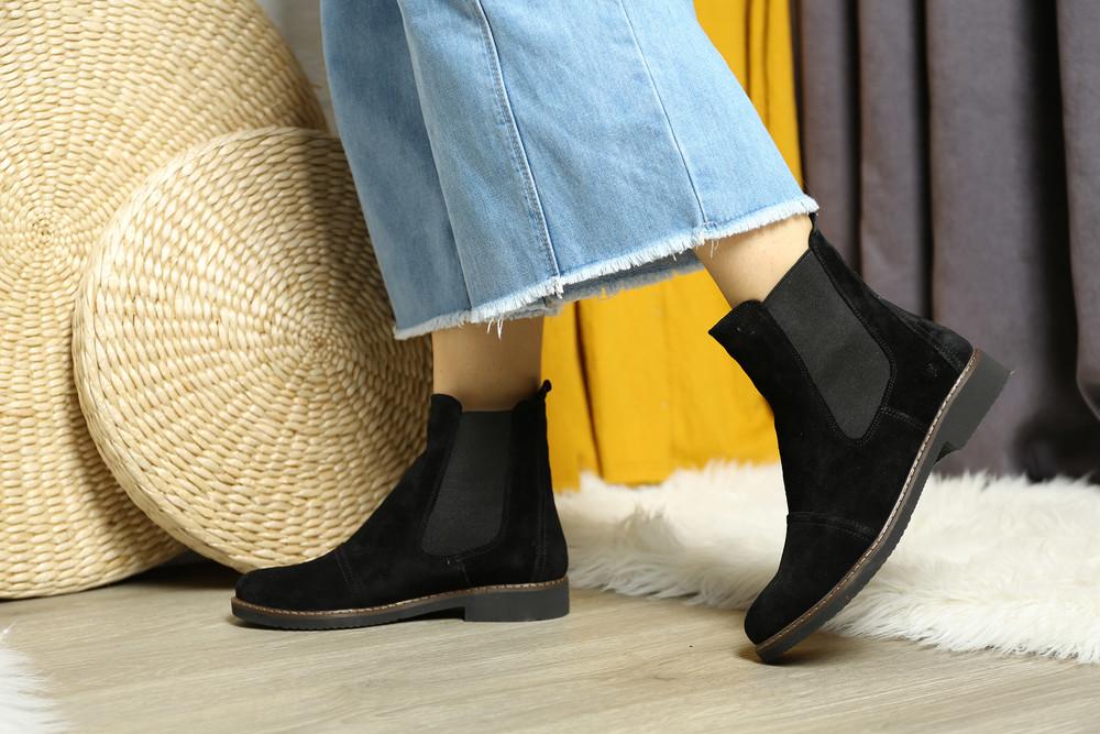 Стильные замшевые деми ботинки челси, замша натуральная фото №1