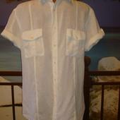 Рубашка льняная\лен с коротким рукавом р.m-l ZARA