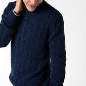Синий мужской свитер De Facto / Де Факто в вязку косичка