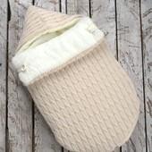 Конверт - кокон зимний для выписки для коляски для прогулки  махра , теплый  зима для новорожденного