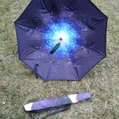Зонт наоборот оригинал ветрозащитный антизонт upbrella зонт трость зонт обратного сложения космос