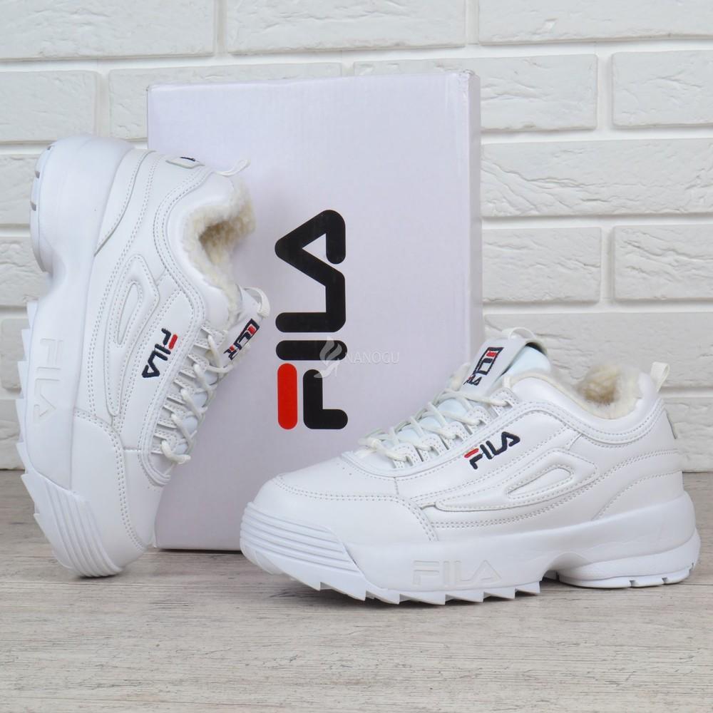 Кроссовки кожаные зимние fila disruptor 2 white женские фила белые на меху  фото №1 f39a2daf2f3fc