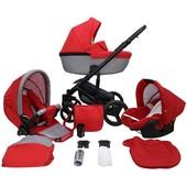 Детская коляска 2 в 1 Mikrus Genua 06 графитовая с красным