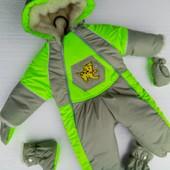 Детский зимний комбинезон -трансформер от 0 до 1 года, салатовый