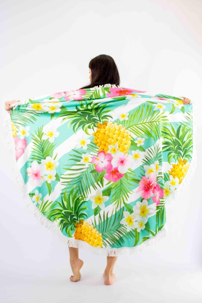 Покрывало пляжное круглое ананасы с цветами фото №1