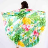 Покрывало пляжное круглое ананасы с цветами